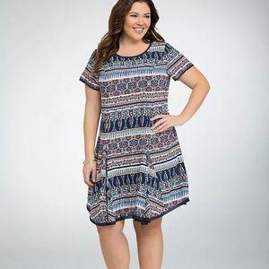 Torrid   Multi Print Boho Challis Tee Dress